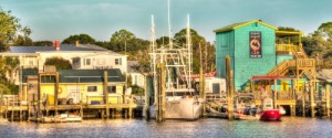 the southport nc waterfront from boat